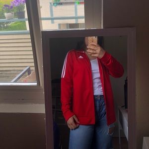 Adidas Three Stripe Red Track Jacket